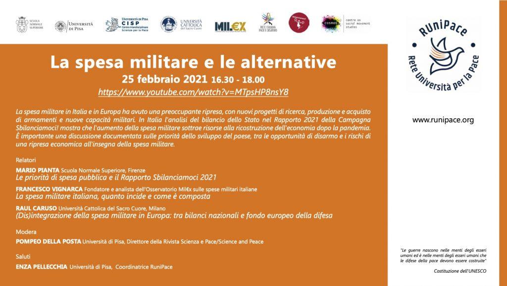 La spesa militare e le alternative, il video della conferenza