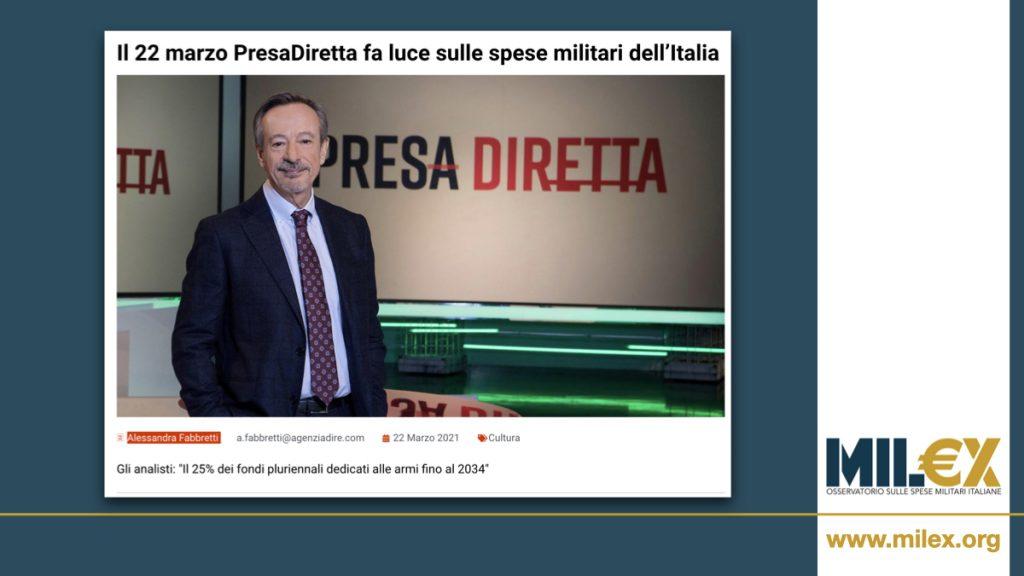 Il 22 marzo PresaDiretta fa luce sulle spese militari dell'Italia